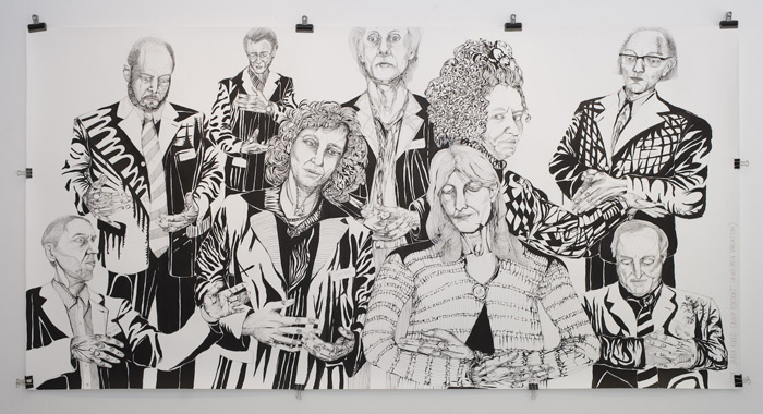 Group Portrait (a Holbein Variation) 2008 -155x300 cm -Ink on Paper